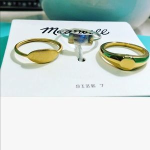 Madewell Gold & Silver Signet Ring Trio Size 7